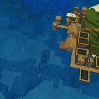 Сид на остров с деревней в океане для MCPE 1.4